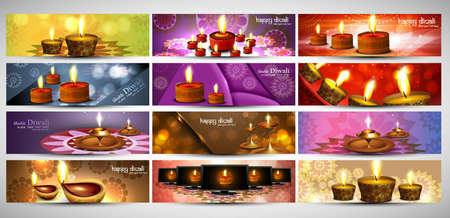 happy diwali stylish bright colorful set of headers collection vector Illustration
