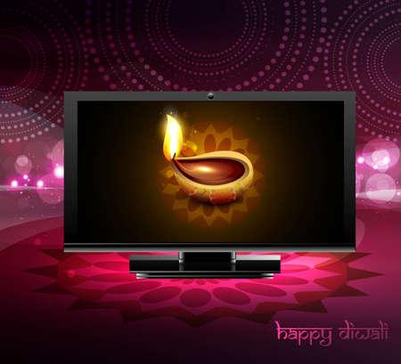 Beautiful happy diwali led tv screen celebration colorful design Vector