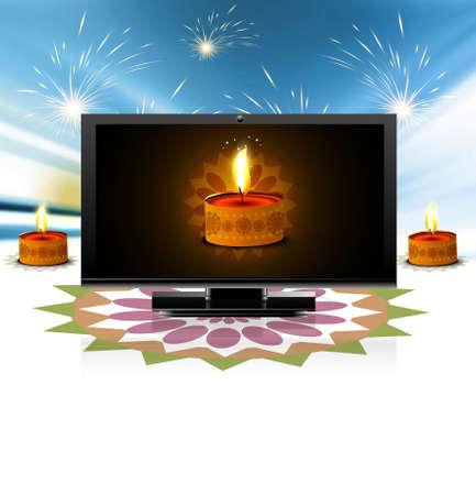 Beautiful happy diwali led tv screen celebration colorful fantastic background Vector