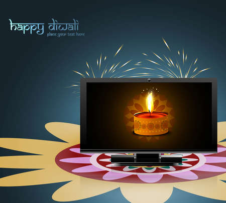Happy diwali beautiful led tv screen celebration colorful design illustration Vector