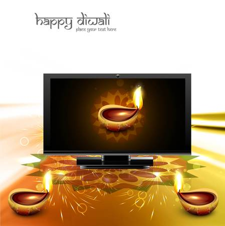 Happy diwali beautiful led tv screen celebration golden shiny colorful background vector Stock Vector - 18548421