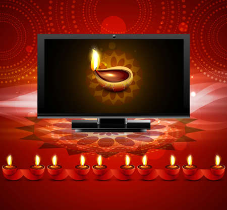 Happy diwali beautiful led tv screen celebration red colorful background Vector