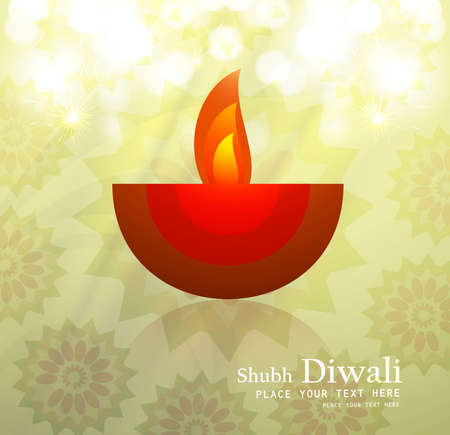Beautiful happy diwali diya artwork vector background Vector