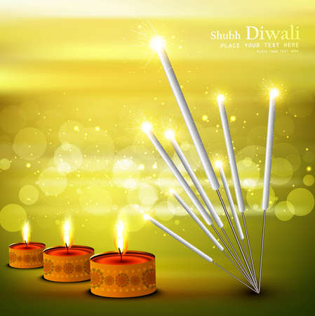 happy diwali  festival crackers on diya colorful background vector illustration Vector