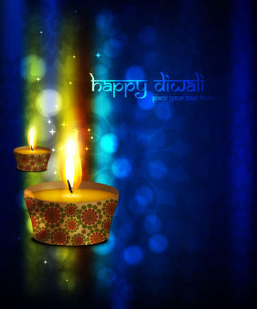 Beautiful happy diwali Greeting card blue colorful vector background Vector