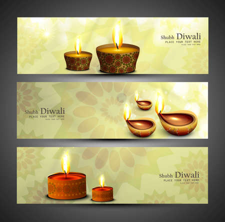 happy diwali stylish colorful set of headers design vector Vector