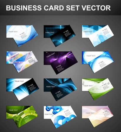 abstrait Divers 12 Carte d'affaires ensemble vecteur de collecte lumineuse