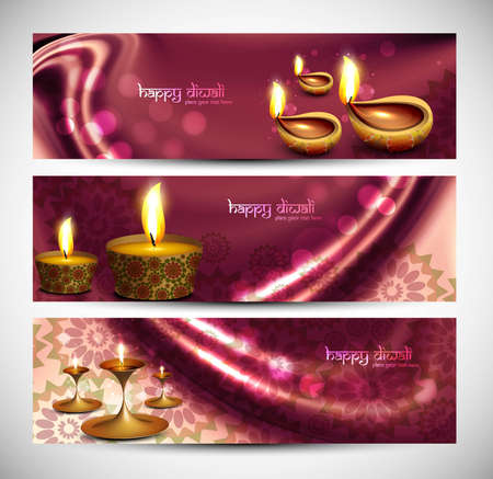 happy diwali stylish colorful set of headers background Vector