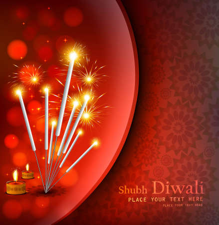 happy diwali festival crackers bright red colorful background  Vector