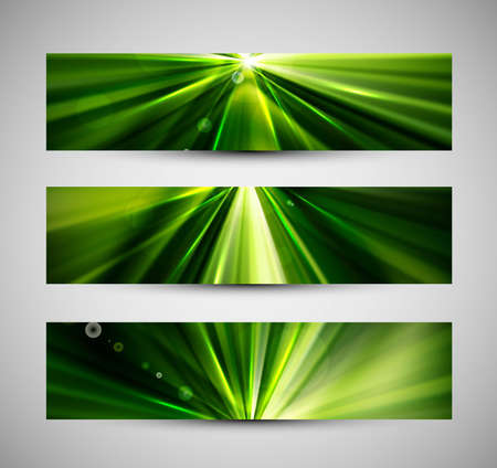 abstract bright rays colorful green header wave set Stock Vector - 18567348