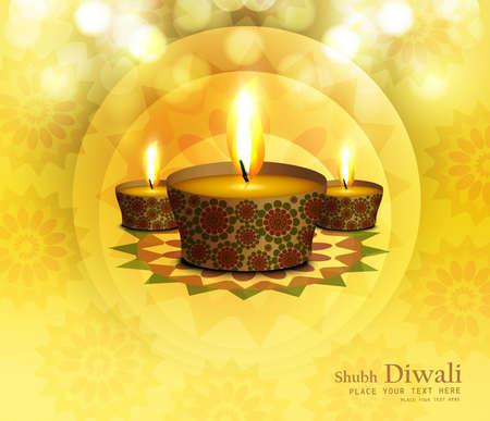 Happy diwali diya celebration shiny colorful background vector Stock Vector - 18567355