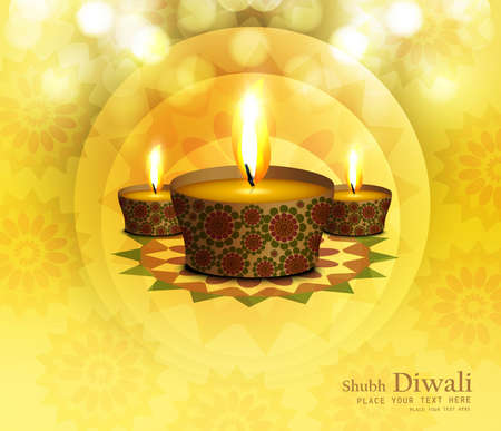 Happy diwali diya celebration shiny colorful background vector Stock Vector - 18567355
