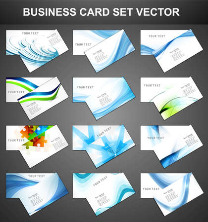 abstract Various 12 Business Card set collection vector