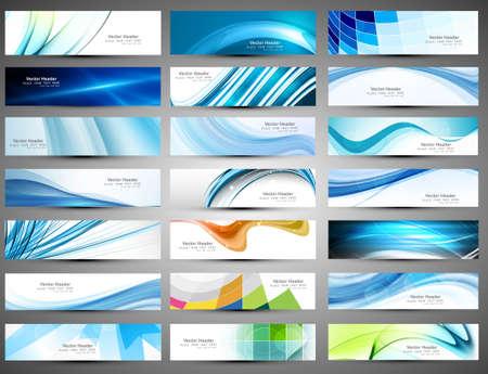 추상 다양한 21 컬러 풀 한 헤더 집합 컬렉션 벡터 디자인 스톡 콘텐츠 - 18621793