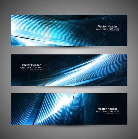 abstract black bright blue colorful header set design Illustration