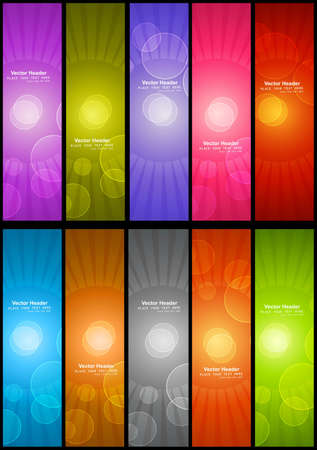 abstract colorful shiny vertical header Collection vector set design Vector
