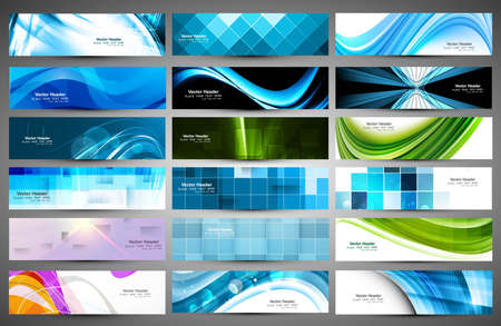 abstract Various 18 colorful header set collection
