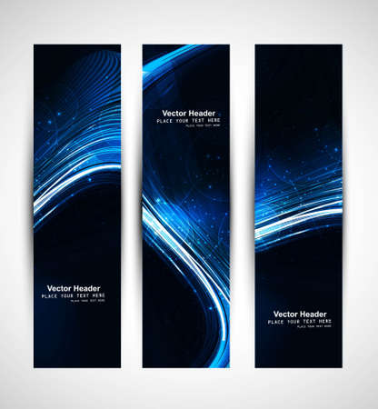 Abstract vertical header blue bright wave