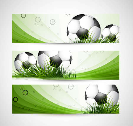 abstract green colorful headers soccer ball set wave vector