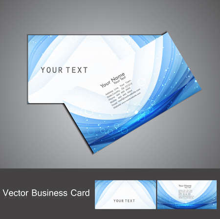 abstract blue colorful wave business card set  Vector