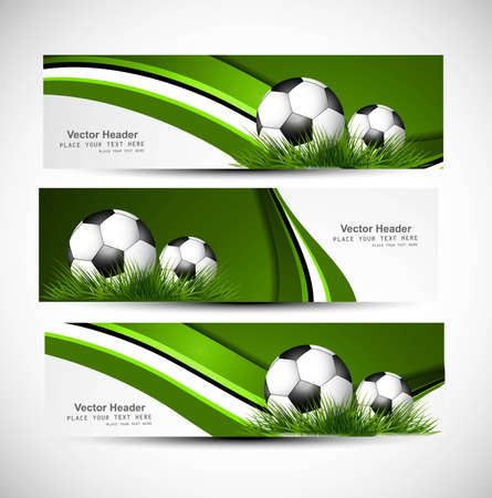 whit: abstract green colorful headers soccer ball set wave vector whit