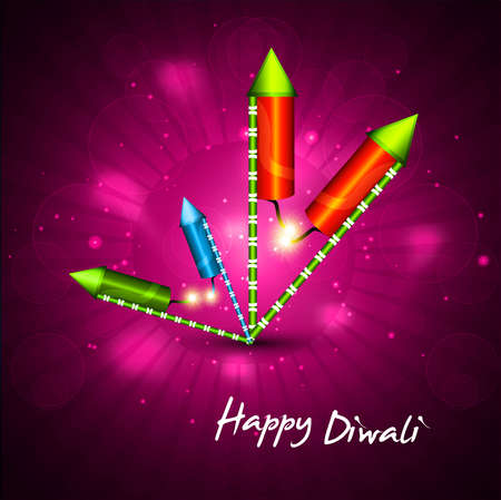 diwali crackers hindu festival bright colorful vector background Stock Vector - 18805164