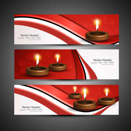 stylish bright colorful set of diwali headers vector Vector