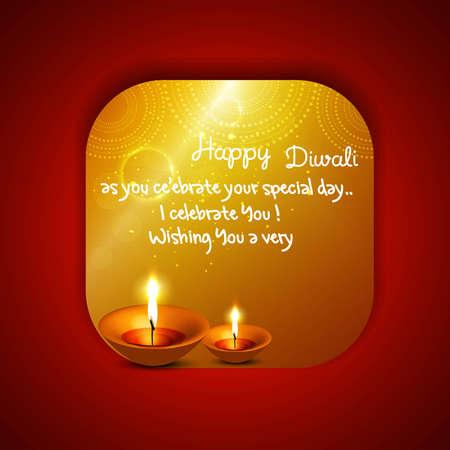 Happy diwali beautiful card diya vector Vector