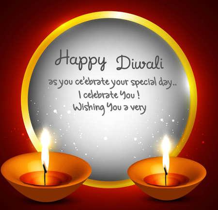 Happy diwali beautiful card circle diya vector Illustration