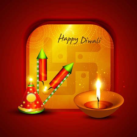 Happy diwali crackers hindu festival bright colorful vector background Vector