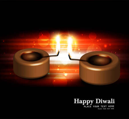 Happy diwali black bright beautiful card diya vector Stock Vector - 18805326