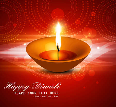 Beautiful happy diwali diya bright colorful hindu festival vector Vector