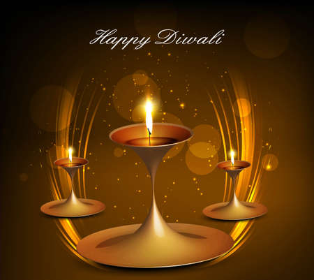 Shiny bright colorful diwali diya background vector Vector