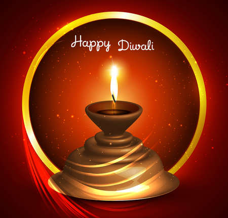 Beautiful happy diwali Greeting card vector design Stock Vector - 18805256