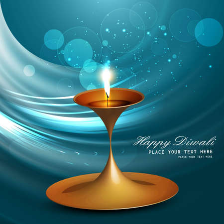 Beautiful vector diwali diya bright blue wave colorful background Vector