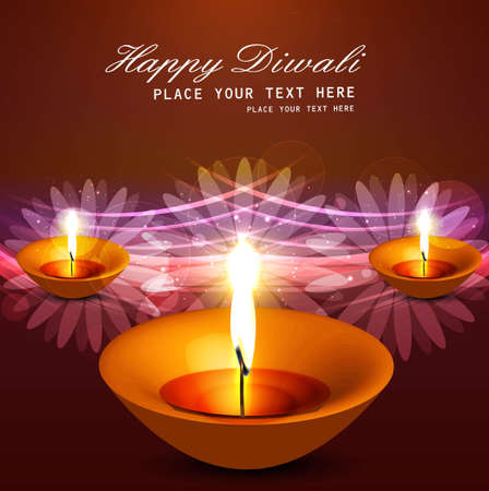 happy diwali diya greeting card bright colorful vector design Stock Vector - 18805266