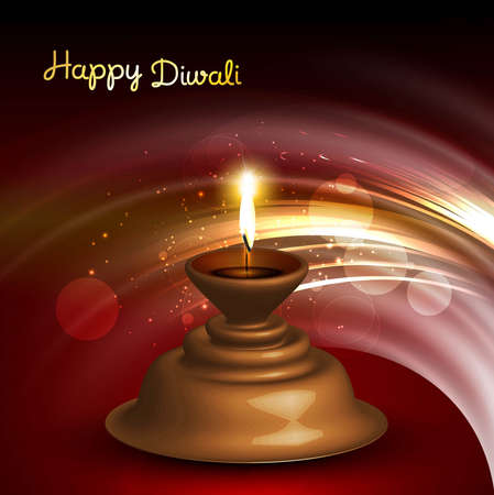 illustration of burning happy diwali diya card colorful vector Vector