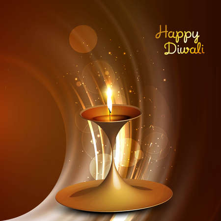 Beautiful vector diwali diya bright shiny wave colorful background Vector