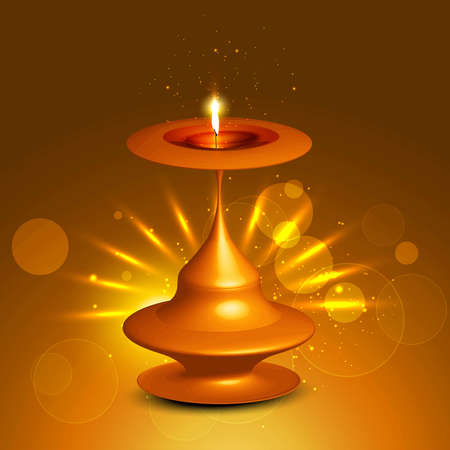 Happy diwali bright beautiful card shiny diya vector Vector