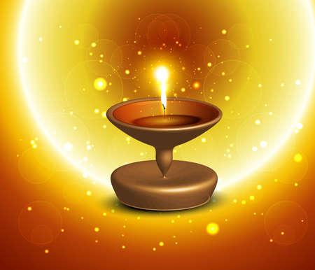 Happy diwali beautiful shiny vector diya  background illustration Stock Vector - 18805183