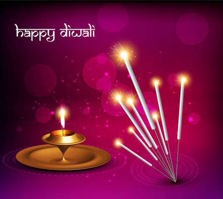 happy diwali vector festival crackers on diya colorful background Vector