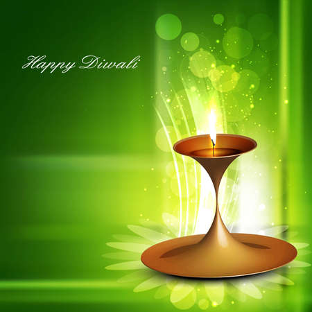 Happy diwali beautiful illuminating diya colorful green vector  Vector