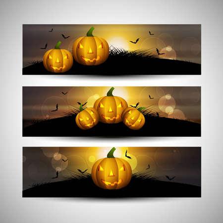 wicked set: abstract bright header set of three halloween vector design