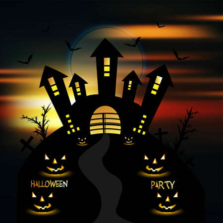 Happy Halloween greeting card colorful pumpkins party vector Stock Vector - 18838584