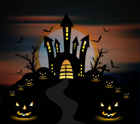 Halloween night with pumpkins party vector background Stock Vector - 18838554
