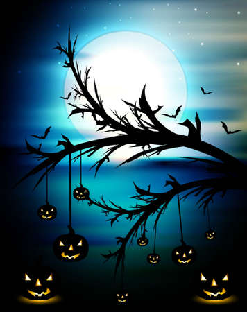 Halloween night blue colorful with pumpkins background Stock Vector - 18838474