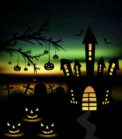 Happy Halloween night colorful with pumpkins vector Stock Vector - 18838669