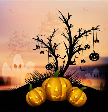 halloween Scary pumpkins vector background Stock Vector - 18838651