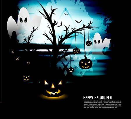 Halloween Scary pumpkins bright blue vector design Stock Vector - 18838619