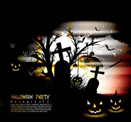 Halloween Scary pumpkins background vector Stock Vector - 18838657